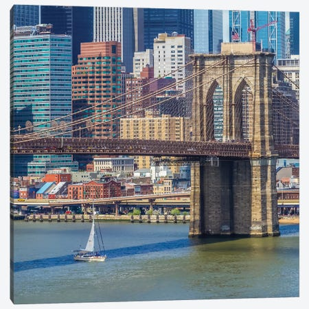 New York City Brooklyn Bridge And Manhattan Skyline Canvas Print #MEV321} by Melanie Viola Canvas Print