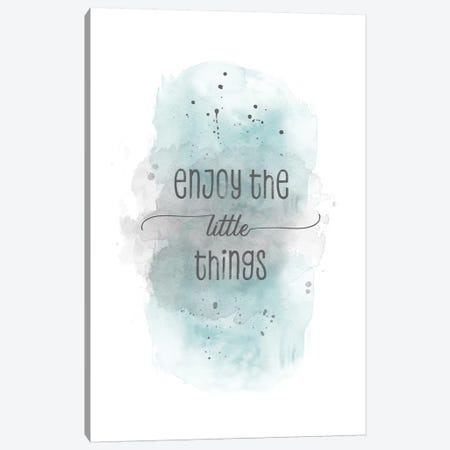 Enjoy The Little Things   Watercolor Turquoise Canvas Print #MEV329} by Melanie Viola Canvas Print