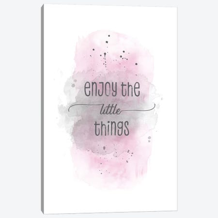 Enjoy The Little Things   Watercolor Pink Canvas Print #MEV330} by Melanie Viola Canvas Wall Art