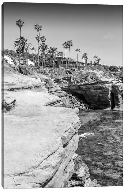 San Diego Sunset Cliffs Monochrome Canvas Art Print