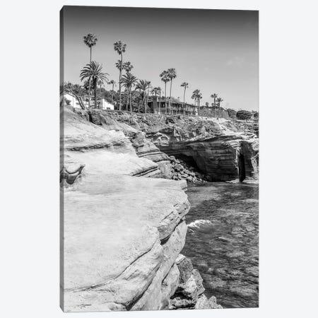 San Diego Sunset Cliffs Monochrome Canvas Print #MEV348} by Melanie Viola Art Print