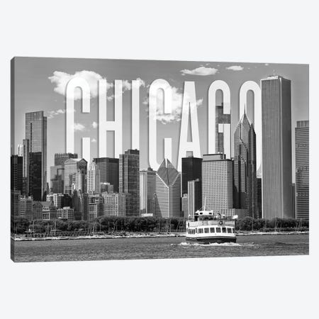 Skyline Of Chicago Monochrome Canvas Print #MEV363} by Melanie Viola Art Print