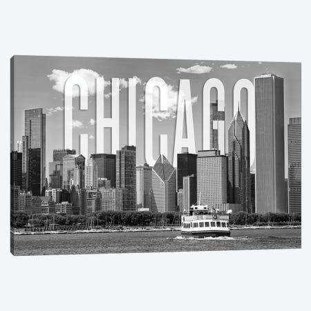 Skyline Of Chicago Monochrome Canvas Print #MEV363} by Melanie Viola Art Print