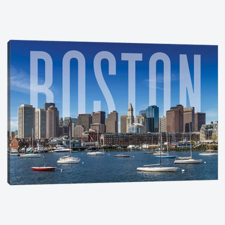 Skyline Of Boston Canvas Print #MEV364} by Melanie Viola Canvas Wall Art