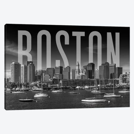 Skyline Of Boston Monochrome 3-Piece Canvas #MEV365} by Melanie Viola Canvas Art