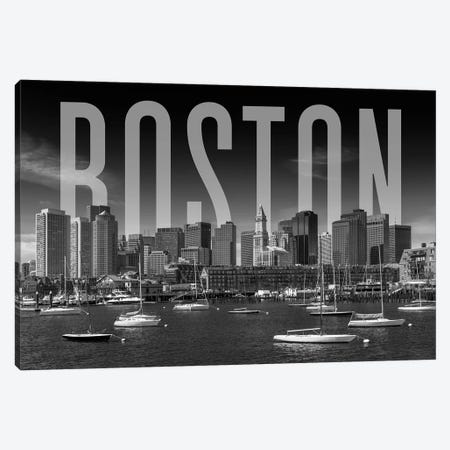 Skyline Of Boston Monochrome Canvas Print #MEV365} by Melanie Viola Canvas Art