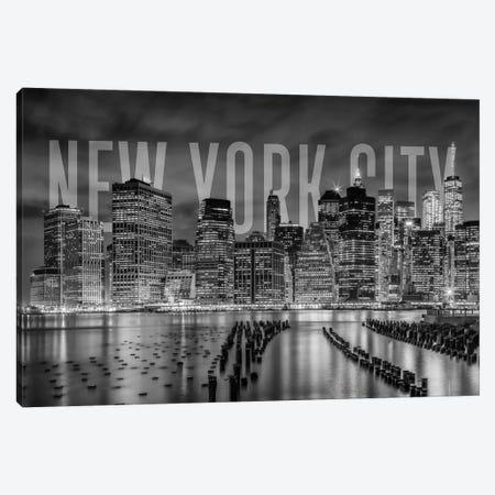 New York City Skyline Monochrome 3-Piece Canvas #MEV367} by Melanie Viola Canvas Wall Art