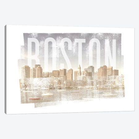 Boston Skyline | Vintage Canvas Print #MEV369} by Melanie Viola Canvas Art Print