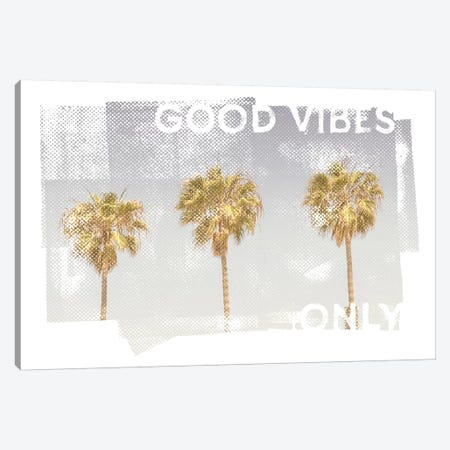 Vintage Palm Trees | Good Vibes Only Canvas Print #MEV371} by Melanie Viola Canvas Art
