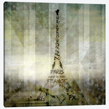 Digital Art Paris Eiffel Tower Canvas Print #MEV37} by Melanie Viola Canvas Wall Art