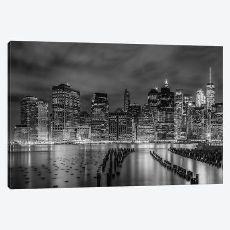 New York City Monochrome Night Impressions Canvas Print #MEV385} by Melanie Viola Canvas Artwork