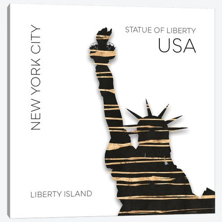 Urban Art NYC Statue Of Liberty Canvas Print #MEV387} by Melanie Viola Canvas Wall Art