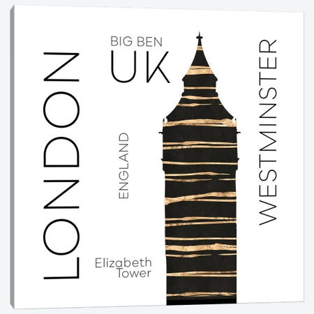 Urban Art London Big Ben Canvas Print #MEV389} by Melanie Viola Canvas Art Print