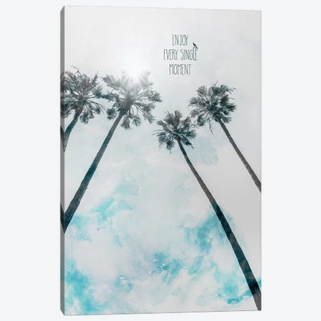 Palm Trees With Sun | Enjoy Every Single Moment Canvas Print #MEV394} by Melanie Viola Canvas Art Print
