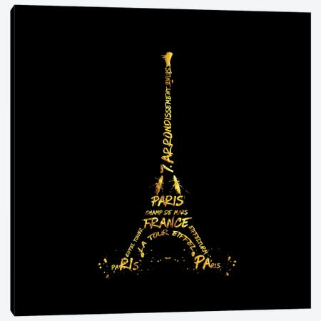 Digital Art Eiffel Tower - Black & Golden 3-Piece Canvas #MEV39} by Melanie Viola Art Print