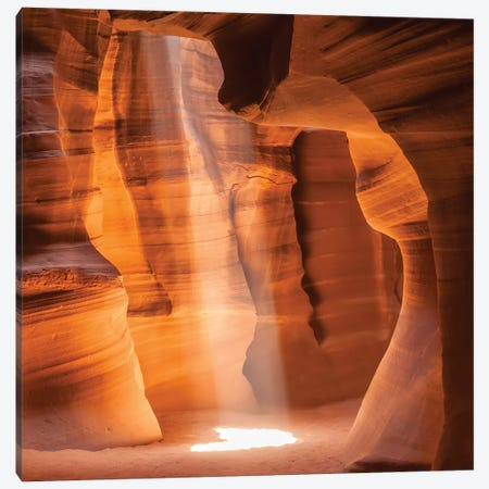 Antelope Canyon Gorgeous Lightbeam Canvas Print #MEV3} by Melanie Viola Canvas Wall Art