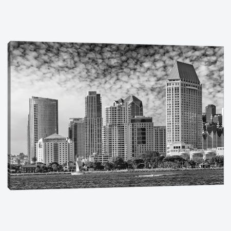 San Diego Monochrome Skyline Canvas Print #MEV416} by Melanie Viola Canvas Wall Art