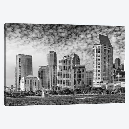 San Diego Monochrome Skyline Canvas Print #MEV416} by Melanie Viola Canvas Wall Art