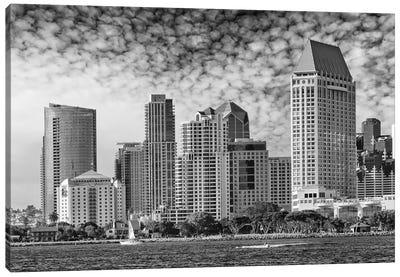 San Diego Monochrome Skyline Canvas Art Print