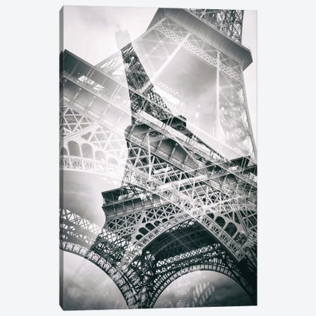 Eiffel Tower Double Exposure Canvas Print #MEV41} by Melanie Viola Canvas Wall Art