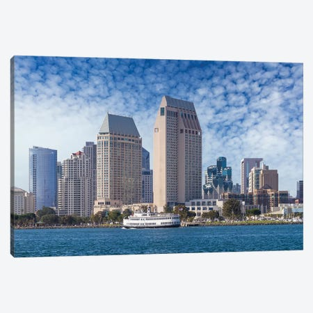 San Diego City Skyline Canvas Print #MEV420} by Melanie Viola Canvas Wall Art