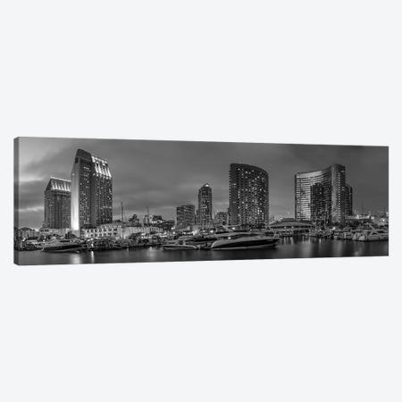 San Diego Evening Skyline | Monochrome Panorama Canvas Print #MEV424} by Melanie Viola Canvas Art Print