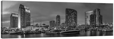 San Diego Evening Skyline | Monochrome Panorama Canvas Art Print