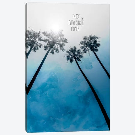 Palm Trees Classic Blue | Enjoy Every Single Moment Canvas Print #MEV431} by Melanie Viola Canvas Art Print