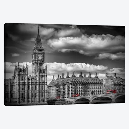 London Big Ben & Red Bus Canvas Print #MEV454} by Melanie Viola Canvas Artwork