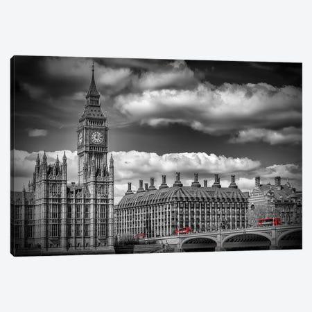 London Big Ben & Red Bus Canvas Print #MEV454} by Melanie Viola Canvas Artwork
