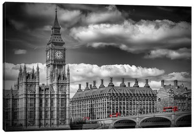 London Big Ben & Red Bus Canvas Art Print