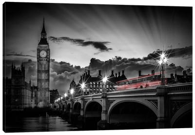 London Westminster Bridge At Sunset Canvas Art Print