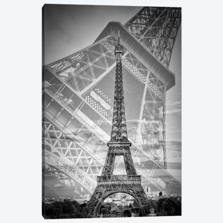 Eiffel Tower Double Exposure II | Monochrome 3-Piece Canvas #MEV457} by Melanie Viola Canvas Artwork
