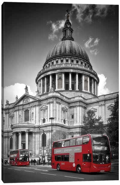 London St. Paul'S Cathedral & Red Bus Canvas Art Print