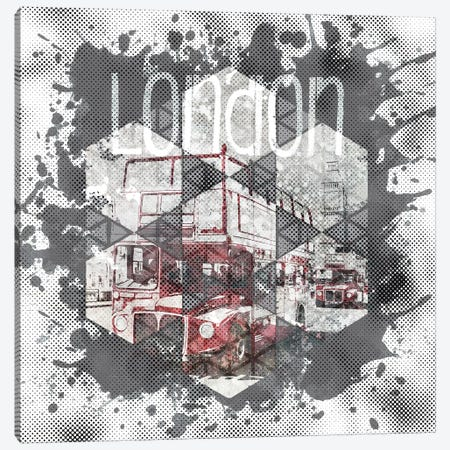 Graphic Art London Streetscene Canvas Print #MEV45} by Melanie Viola Art Print