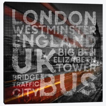 Graphic Art London Westminster Bridge Traffic Canvas Print #MEV460} by Melanie Viola Canvas Art