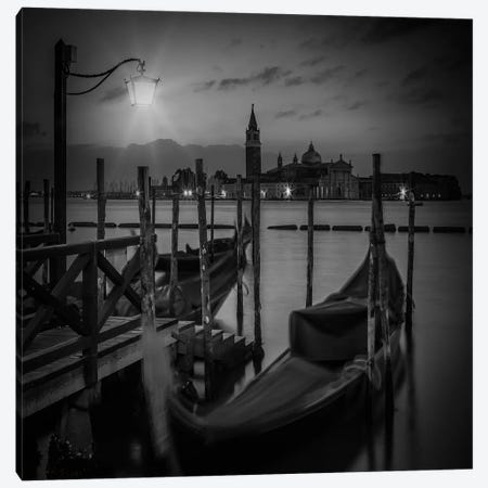 Venice Gondolas During Blue Hour | Monochrome Canvas Print #MEV462} by Melanie Viola Canvas Wall Art
