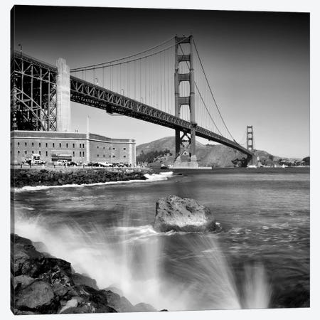 Golden Gate Bridge With Breakers 3-Piece Canvas #MEV465} by Melanie Viola Canvas Art Print