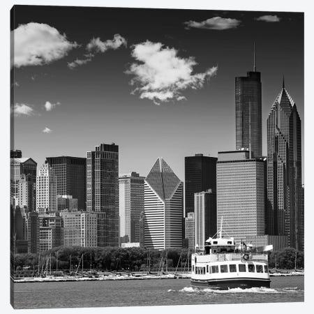 Chicago Skyline   Monochrome Canvas Print #MEV469} by Melanie Viola Canvas Wall Art