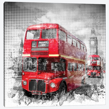 Graphic Art London Westminster Red Buses Canvas Print #MEV46} by Melanie Viola Art Print