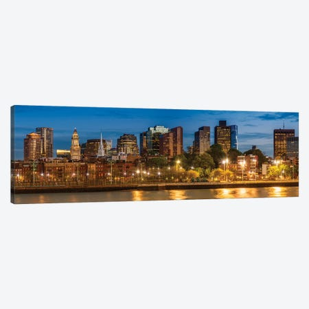 Boston North End & Financial District | Panoramic Canvas Print #MEV470} by Melanie Viola Canvas Art Print