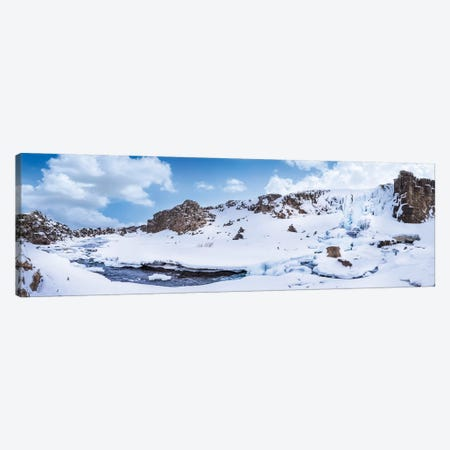 Iceland Oxararfoss In Winter   Panorama 3-Piece Canvas #MEV475} by Melanie Viola Canvas Artwork