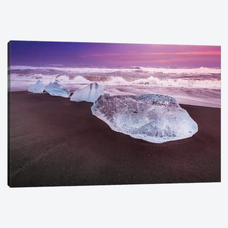 Iceland Blocks Of Ice On The Coast Canvas Print #MEV477} by Melanie Viola Canvas Art