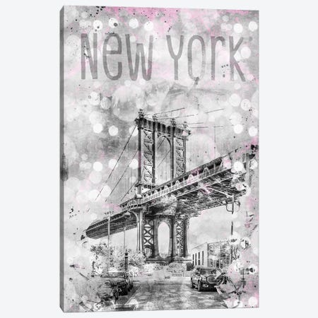 Graphic Art New York City Manhattan Bridge Canvas Print #MEV48} by Melanie Viola Canvas Art
