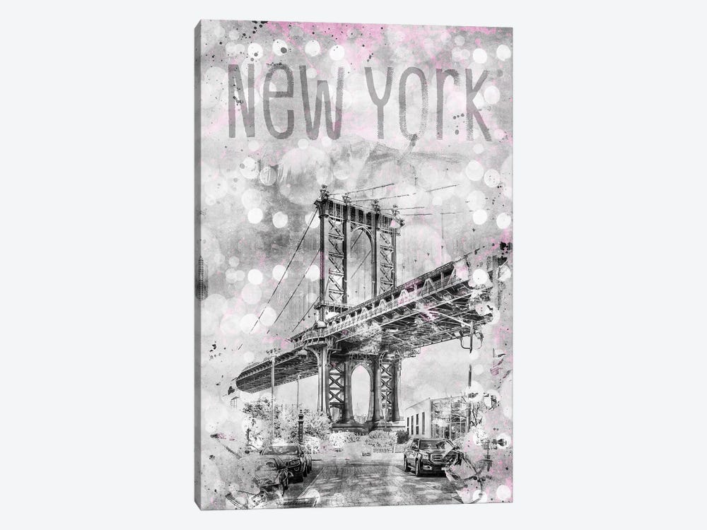 Graphic Art New York City Manhattan Bridge by Melanie Viola 1-piece Canvas Artwork