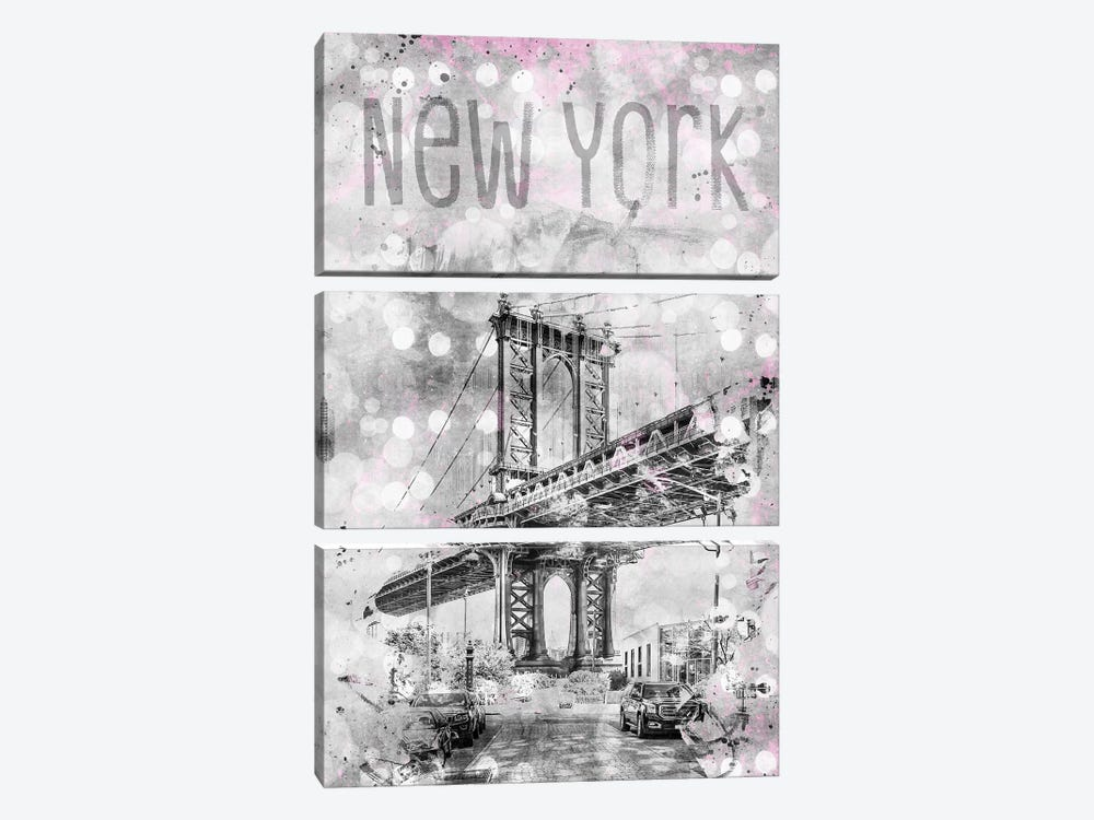 Graphic Art New York City Manhattan Bridge by Melanie Viola 3-piece Canvas Art