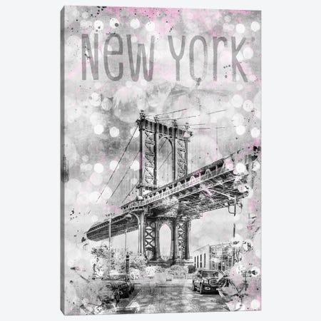 Graphic Art New York City Manhattan Bridge Canvas Print #MEV48} by Melanie Viola Canvas Art