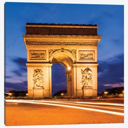 Paris At Night Arc De Triomphe Canvas Print #MEV492} by Melanie Viola Canvas Print