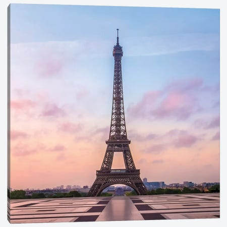Paris Eiffel Tower Sunrise Canvas Print #MEV493} by Melanie Viola Art Print