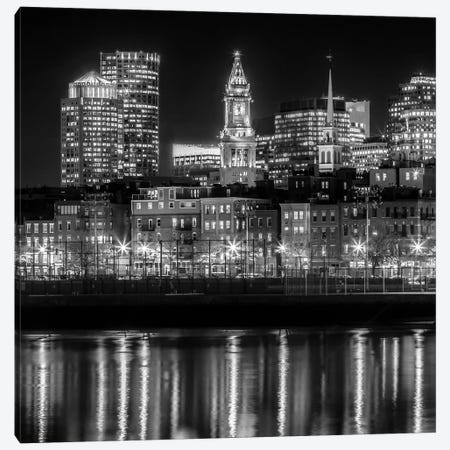 Boston North End & Financial District | Monochrome Canvas Print #MEV496} by Melanie Viola Canvas Wall Art
